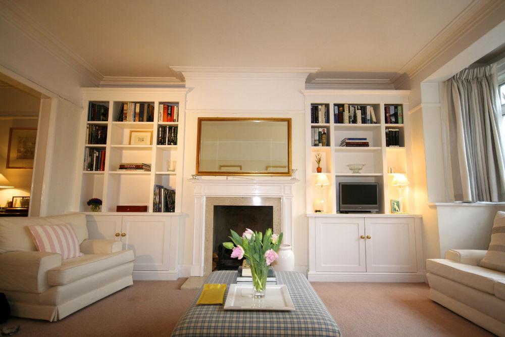 Bespoke pair alcove cabinet units Barnes - The BookCase Co