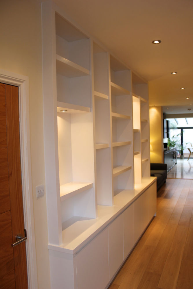 Contemporary Bookcase with lighting in Barnes - The BookCase Co