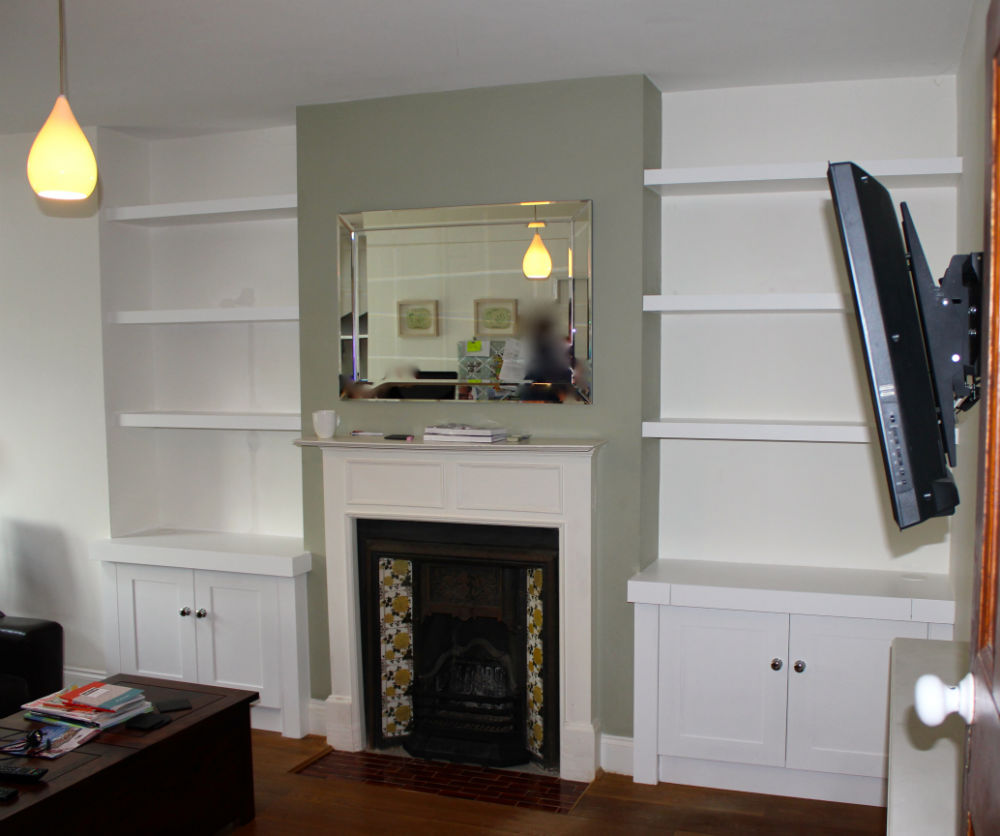 Modern alcove units and shelving Wimbledon - The BookCase Co